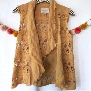{Anthro Moon River} Mustard Crochet Linen Vest